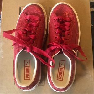 Puma Shoes - Red (shimmer) platform Puma Sneakers